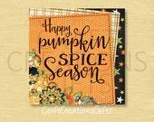 METAL WREATH SIGN Happy Pumpkin Spice Season, Crafts Fall Autumn Halloween Thanksgiving Decorations Deco Mesh Attachment Accent