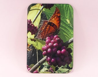 CUTTING BOARD Glass Butterfly Berries Nature Photo Kitchen Dining Home Decor Dye Sublimation