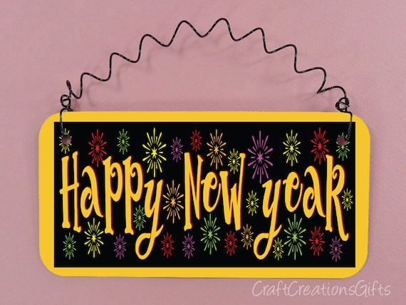 Holographic Glitter HAPPY NEW YEAR Truck SIGN Wall Door Plaque Wreath Addition