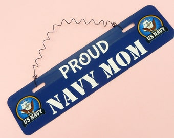 SIGN Proud NAVY Mom Dad Spouse Wife Husband Gift Military Family Wall Hanging Decor Cute Metal Twisted Wire Mother Father