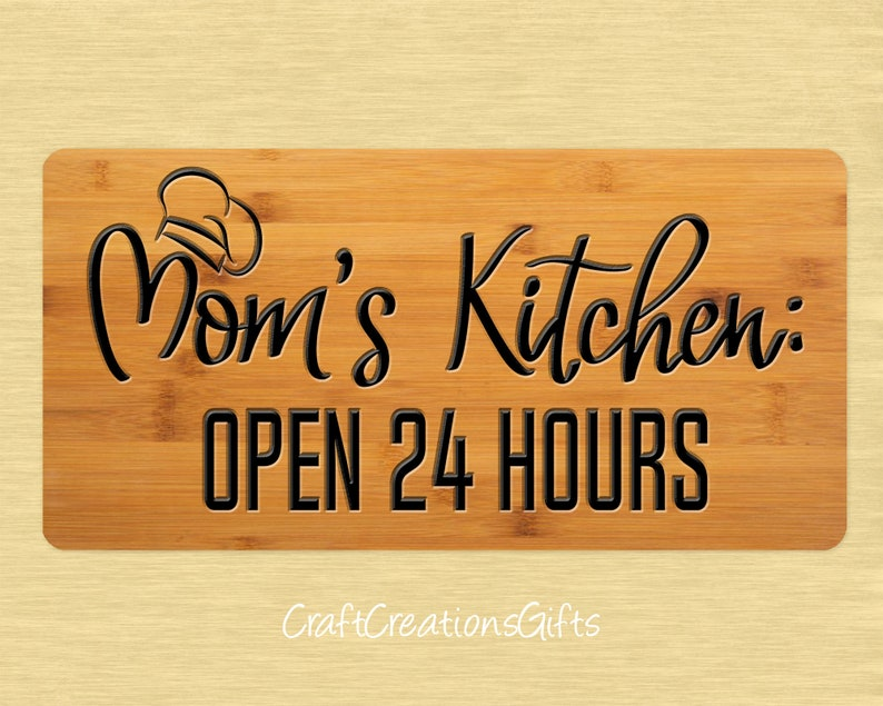 Mom/'s Kitchen Open 24 Hours Metal Wreath Sign 12x6 Deco Mesh Door Decor Floral Arrangements Home Decor Wreath Attachment Craft Supplies