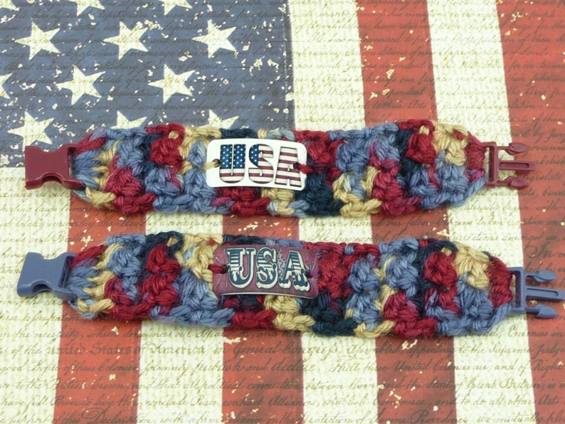 USA BRACELET Set of 2 Americana Crochet Kids Girls Cuff Paracord Buckle Cute Jewelry Patriotic Navy Burgundy Tan Name Tag 4th of July