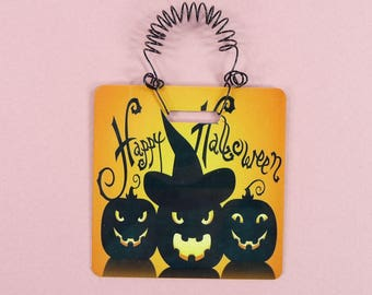 HAPPY HALLOWEEN SIGN or Tiny Tree Ornament Fall Autumn Wreath Packages Home Decor Office Black Orange Pumpkins Jack-o-Lantern Metal Square