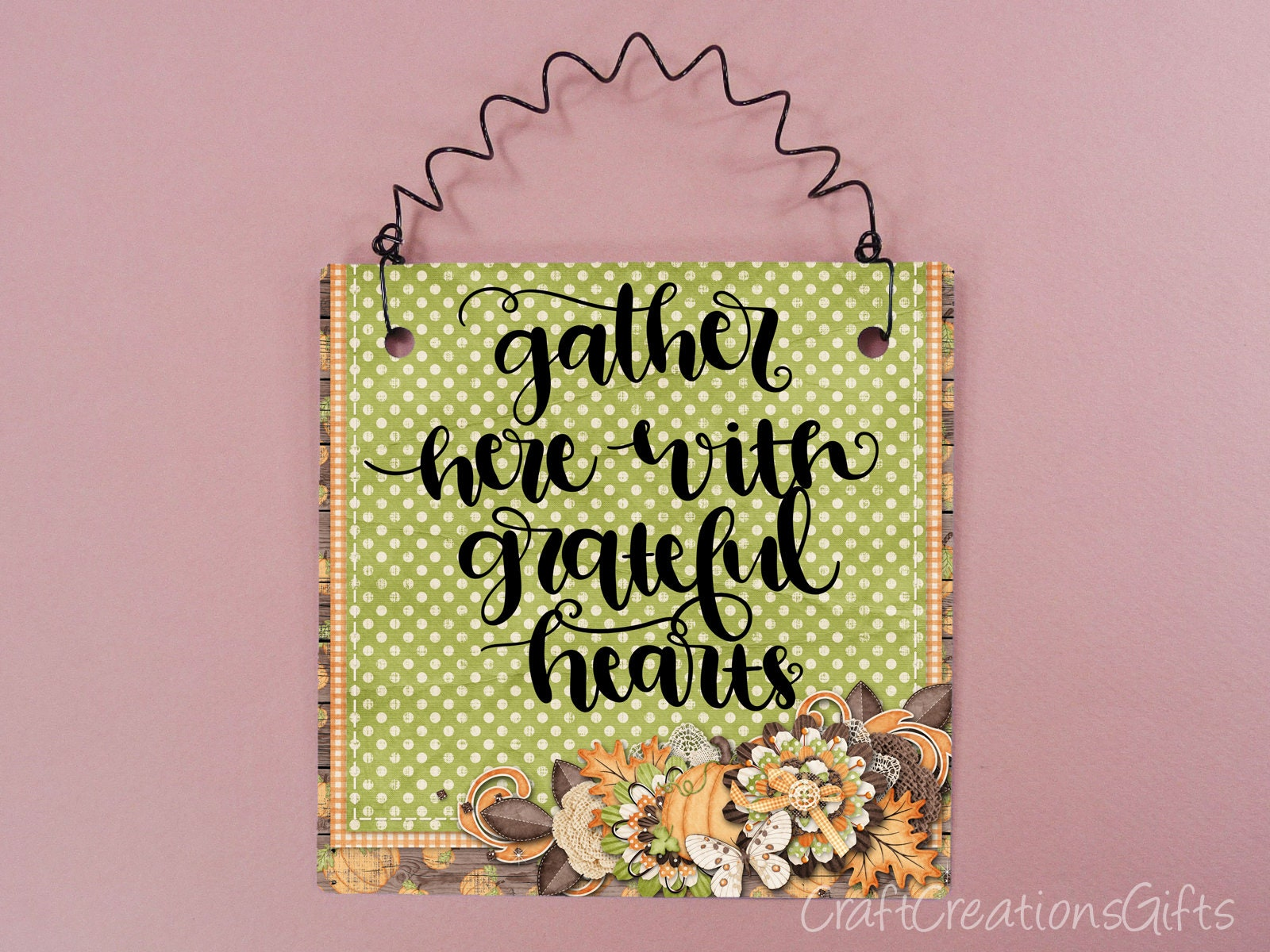 Fall Sign Gather Here With Grateful Hearts Autumn Decor Etsy