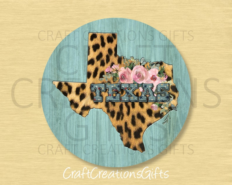 METAL WREATH SIGN Texas Leopard Floral