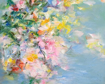 Abstract art print, floral art, wall art, home gallery print, blue pink, Sweeties,