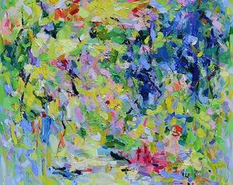 Abstract art Prints, Abstract Painting, Oil Painting, Fine Art Print , Giclee Print , Wall Art, Garden Print 11x14 12x15 16x20 20x25