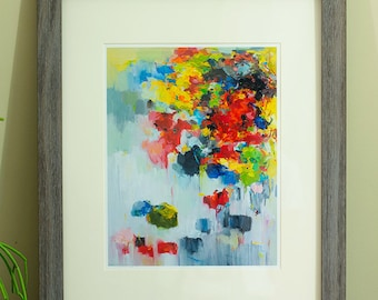 Fine Art Print 16X20 Archival Matted giclee print - from original oil painting Flower on Wall 02- Signed