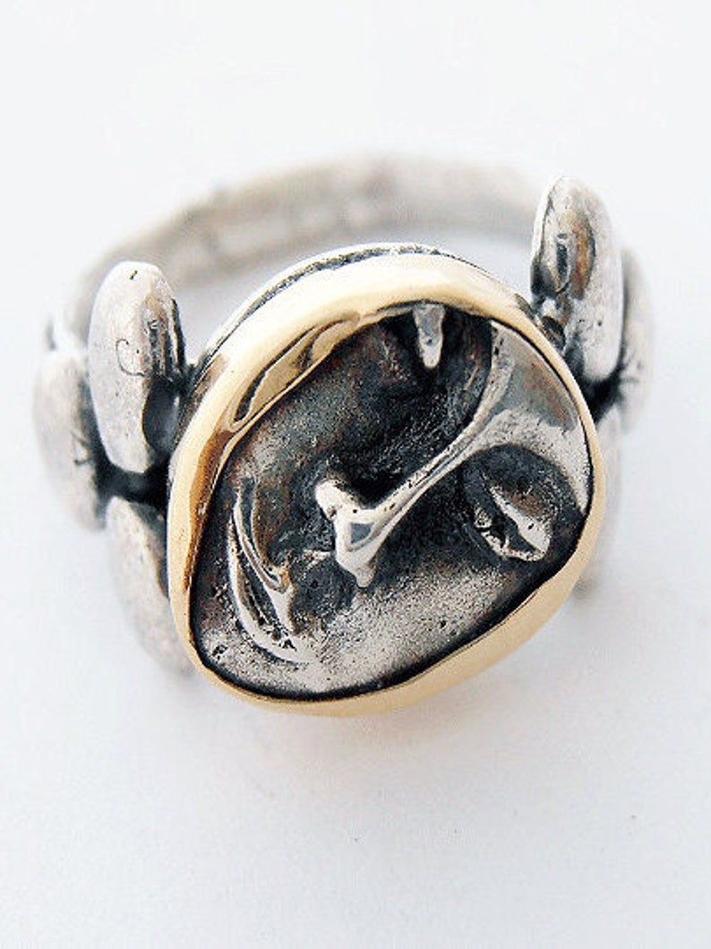 Silver Ring Face Ring Hand Carved.Signet Face Ring Israeli image 0