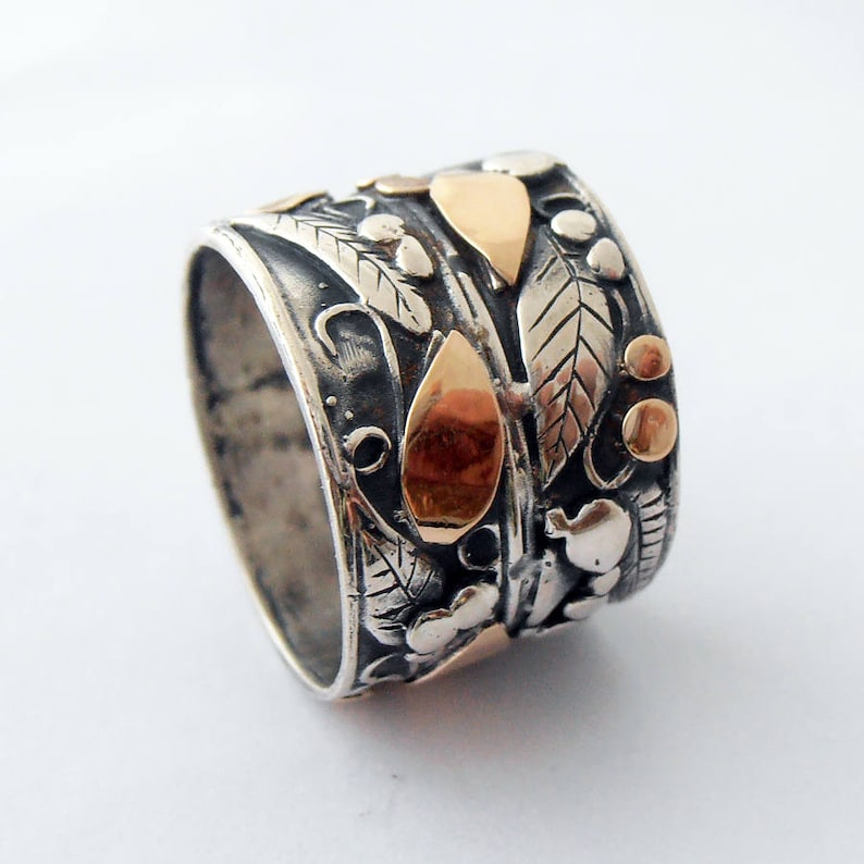 Wedding Band statement ring 14kt gold ring. Wedding Ring Silver and gold Flower Ring Wide Silver Band Israeli Jewelry Israeli Ring