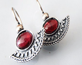 Ethnic Silver Earring, January Birthstone,  Garnet Earrings, Israeli Jewelry, Red Stone Earrings