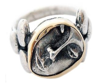 Handmade Sterling Silver and 14k Gold Face Ring, Israeli Jewelry, Talisman Ring, Silver and 14k Gold, Unique Israeli Signet Ring