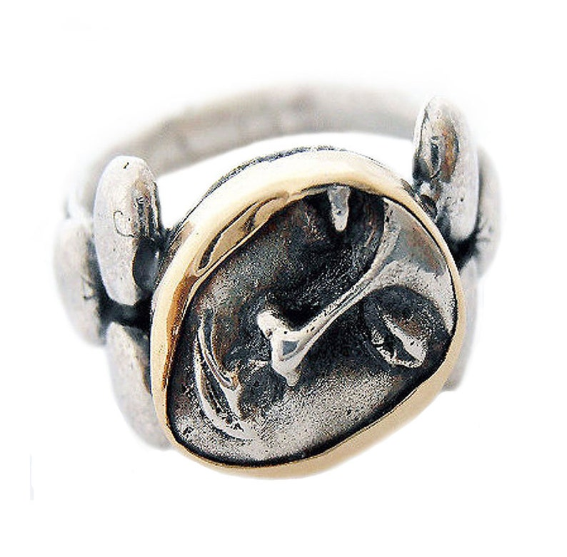 Handmade Sterling Silver and 14k Gold Face Ring Israeli image 0