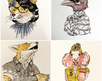 Commissioned anthropomorphic portraits - you chose the animal you would like to be