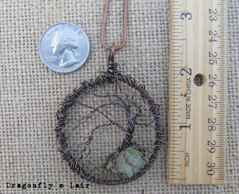 Copper Tree of Life Pendant with Green Calcite