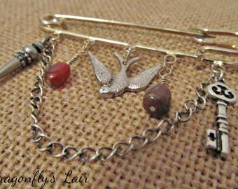 Silver-tone Charm Pin with Energizing Gemstones