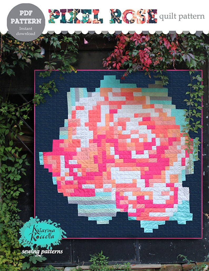 PDF pattern Instant Download Recollection PIXEL ROSE modern image 0