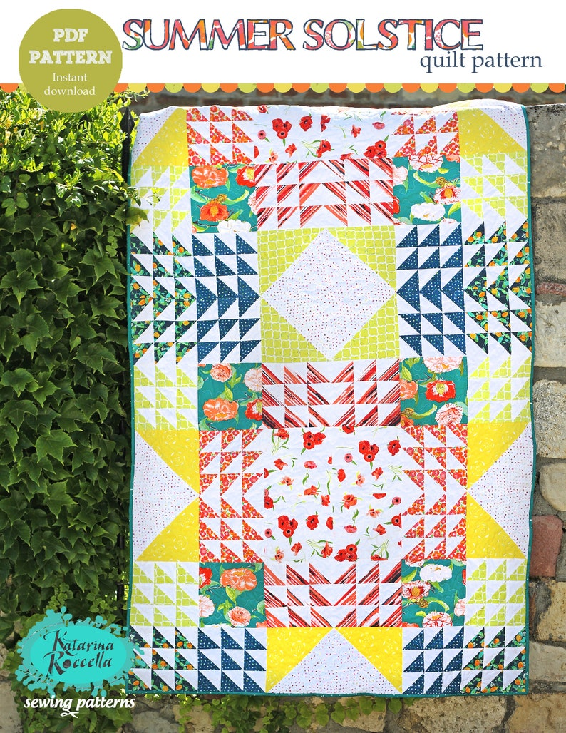 PDF pattern Instant Download SUMMER SOLSTICE modern quilt by image 0
