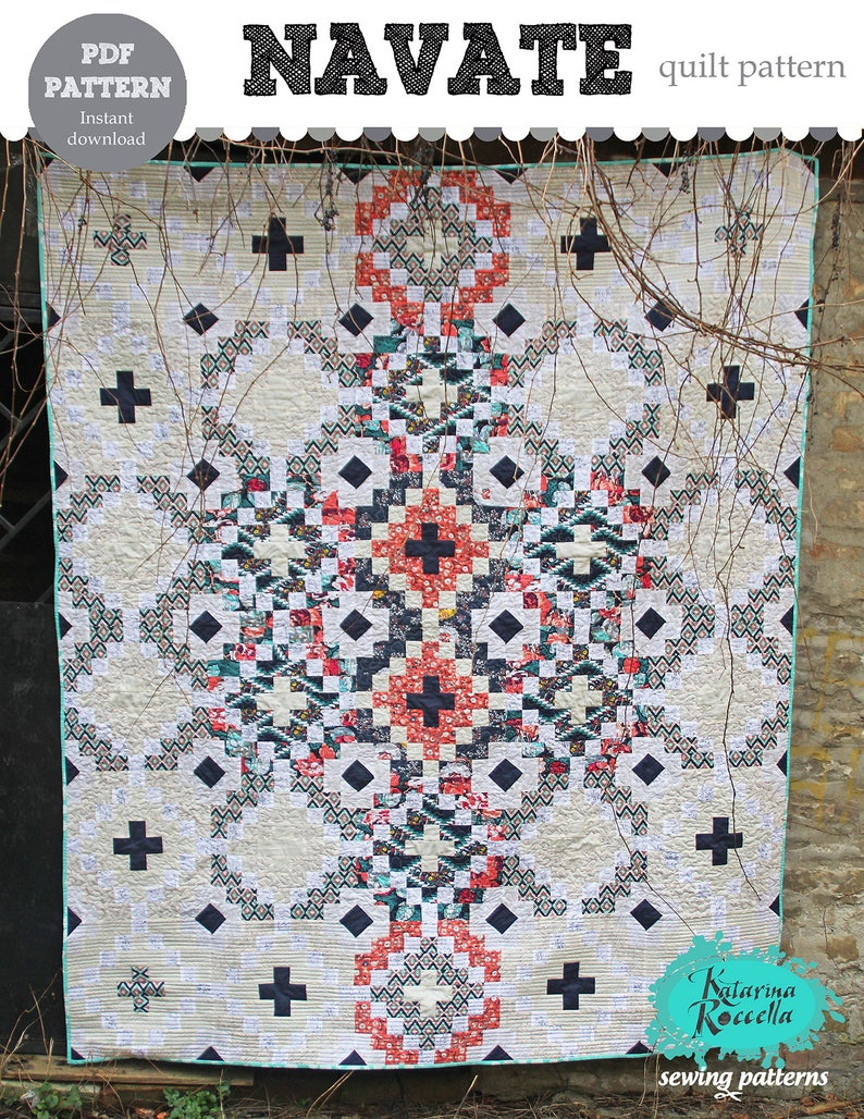 PDF pattern Instant Download NAVATE modern quilt by Katarina image 0