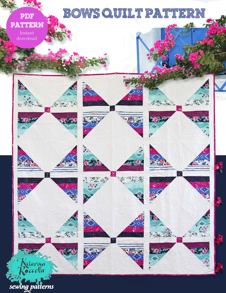 PDF pattern Instant Download Mediterraneo BOWS modern QUILT by image 0