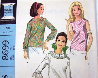 Vintage 1967 Sewing Pattern McCall's 8699 Junior Blouses Size 11 Bust 31.5 Complete