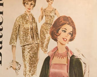 Vintage 1960s Misses' Sheath Dress and Jacket Sewing Pattern  Butterick 2465 Bust 34 Inches  UNCUT Complete