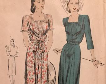 Misses' Vintage 1940's Vogue One-Piece Dress Sewing Pattern Vogue 5178  Size 18 Bust 36  Complete Unprinted
