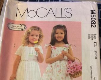 UNCUT McCall's 5032 Girls' Jacket Dress Size 6-7-8  Uncut Complete Party Dress