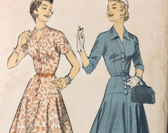 Misses' Dresses Sewing Pattern Vintage 1956 Advance 7829 Size 16.5 Bust 36 inches Uncut Complete