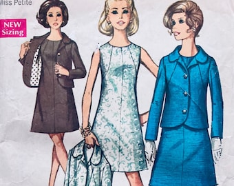 Misses' Dress and Jacket Sewing Pattern Simplicity 8500 Misses' Size 8 Miss Petite Bust 31.5 Inches Complete