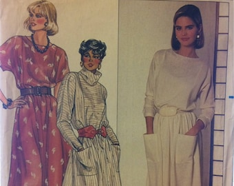 Pullover Dress Sewing Pattern Butterick 6681  Misses' Size 8-10-12 Bust  30-32-34  Inches Complete Uncut