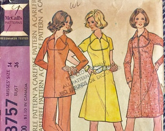 Vintage 1973 Misses Dress, Tunic, Pants Sewing Pattern McCall's 3757  Size 14 Bust 36 Inches Complete