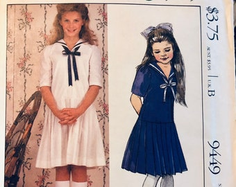 Laura Ashley Girls' Sailor Dress Sewing Pattern...McCall's 9449... Size 6 Breast 25 inches Uncut  Complete