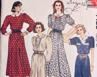 Misses' Modest Dress Sewing Pattern McCall's 4486 Misses' Size 16 Bust 38 inches Complete