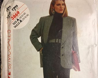 Vintage 80's Misses' Jacket and Pants Sewing Pattern McCall's 3869 Bust 32-36 Size 10-14  Complete UNCUT