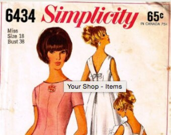 Vintage 60's Sewing Pattern Simplicity Primer 6434 Misses' Cocktail Dress Size 12 Bust 32 Inches