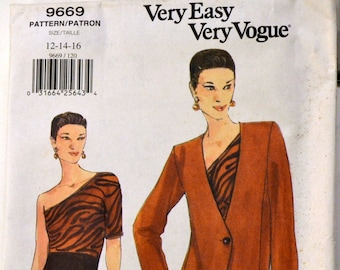 UNCUT Vogue 9669  Misses' Dress  and Jacket Sewing Pattern Uncut Complete Size 6-10 Bust 29-32 inches