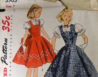 Vintage Sewing Pattern Simplicity 3963 Girls' Fancy Jumper or Dress Size 7 Complete