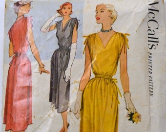 Vintage 1951s Sewing Pattern McCall's 8700 Misses' Dress  Bust 34 Inches Complete