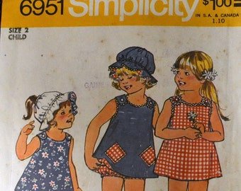Vintage Sewing Pattern Simplicity 6951 JIFFY Girls' Reversible Dress, Hat, and Panties Size 2 Complete