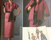 UNCUT Sewing Pattern 1950 39 s Vintage Simplicity 8245 Misses 39 Dress, Sash, and Jacket Size 6-14 Bust 30 - 36 Complete