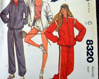 Vintage Sewing Pattern McCall's 8320  Misses' Sweats  Size 16 Bust 38 Inches Complete Uncut