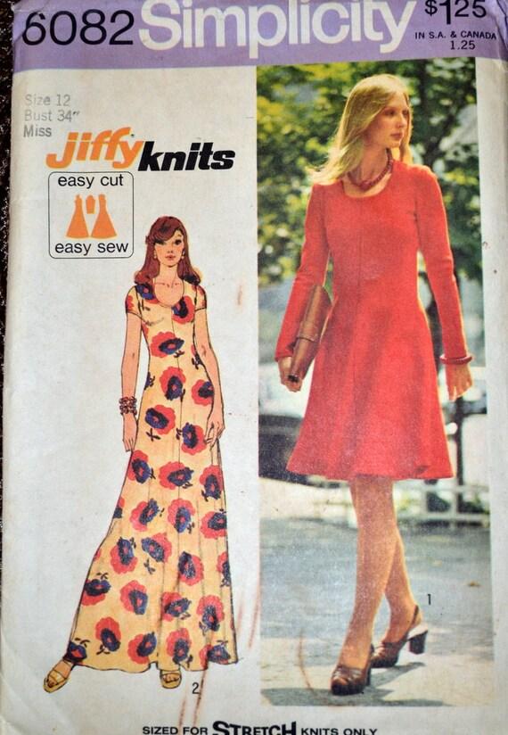Vintage 1970 Knit Dress Sewing Pattern Simplicity 6082 Jiffy | Etsy