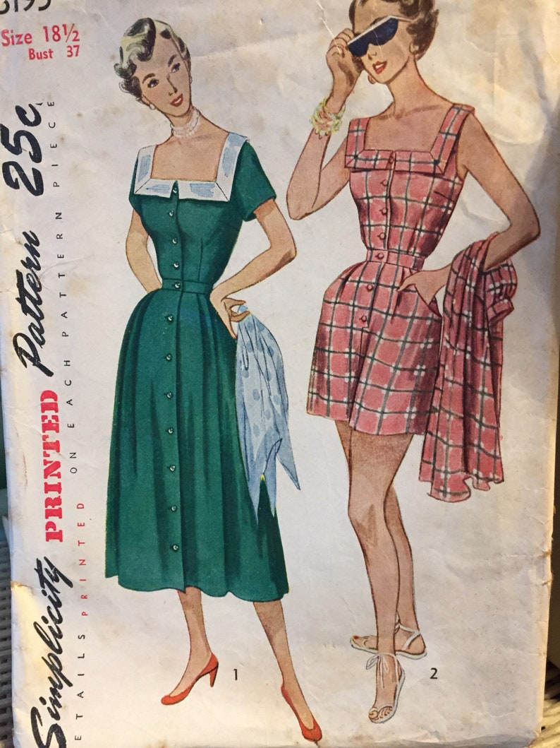 5b4bcf108a7 Vintage Playsuit and Skirt Sewing Pattern 1950 s