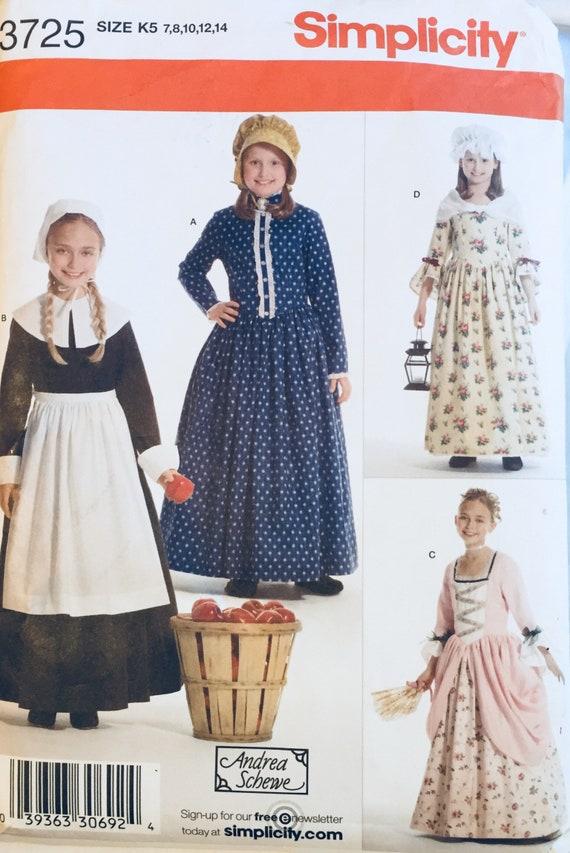 Girls' Colonial Dress Patterns Sewing Pattern Simplicity Etsy Stunning Colonial Dress Patterns