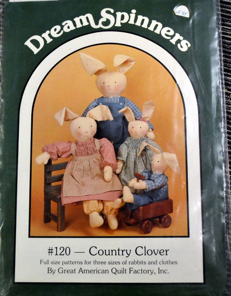 Dream Spinners Bunny Family Country Clover Rabbits and Clothes image 0