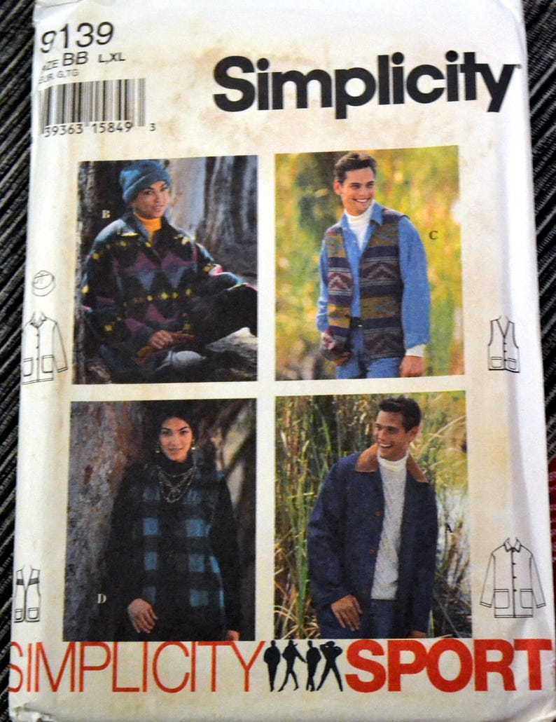 Men's Vest Jacket and  Hat Sewing Pattern Simplicity image 0