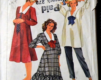 Simplicity 7107 Maternity Dress, Top, and Pants Vintage 80's Sewing Pattern  Size 10-14 Bust 32-36 inches Complete Uncut FF