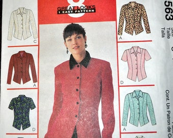 Vintage 1990's Sewing Pattern McCall's 9563 Misses' Tops Bust 32-36 Inches Complete Uncut