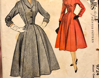 Vintage 50s McCall's 9724 Misses' Coat Sewing Pattern Size 14 Bust 32 Complete.....1950's Fashion